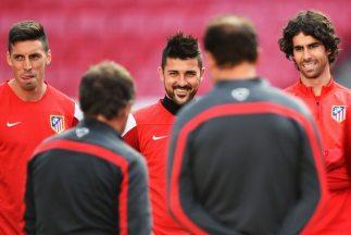 El Atlético de Madrid en una sesión de entrenamiento.
