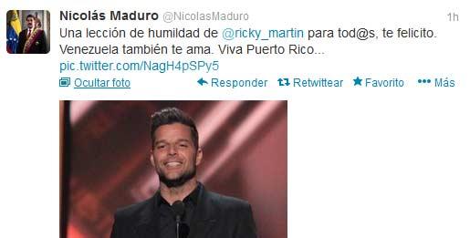 Ricky se disculpa con Maduro por mensaje en Twitter sobre banderas 77b47...