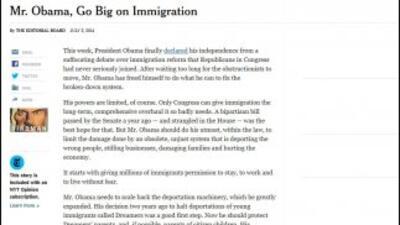 Editorial del diario The New York Times sobre inmigración, en medio de l...