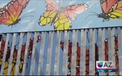 Obra de arte plasmada en muro fronterizo