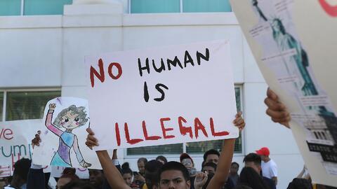 Imagen de una manifestación contra el presidente electo Donald Tr...