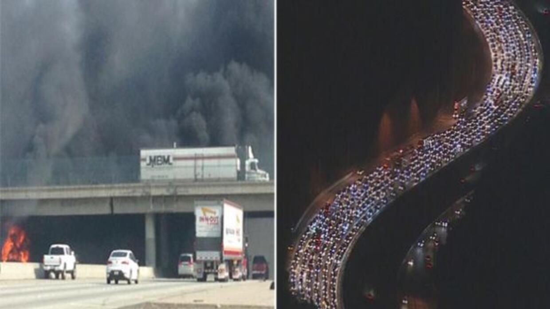 Un incendio en la autopista 10 y un accidente en la 405 causaronembotel...