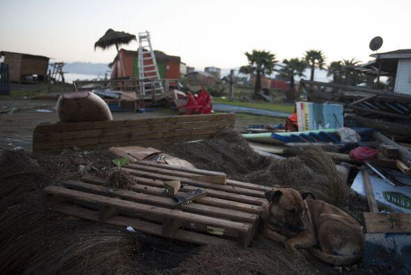 Destrozos causados por la fuerza del terremoto en la playa de Concon, en...
