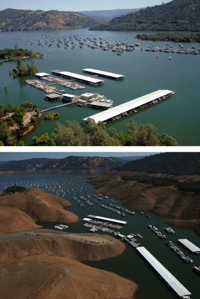 Comparativo del puerto deportivo de Bidwell en el lago Oroville entre 20...