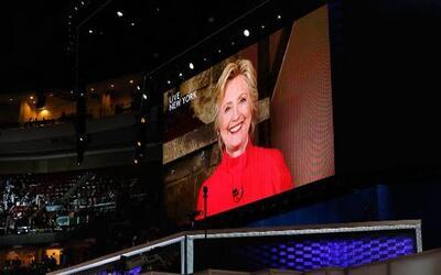 Hillary Clinton habló por sorpresa en la Convención.