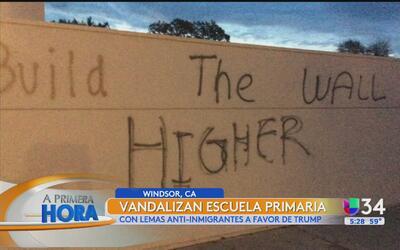 Vandalizan escuela primaria de California con lemas antiinmigrantes a fa...
