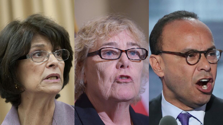 Los congresistas demócratas Lucille Roybal Allard, Zoe Lofgren y Luis Gu...