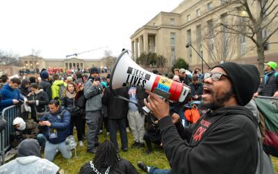 Protestas en la jornada de toma de posesión de Donal Trump como p...