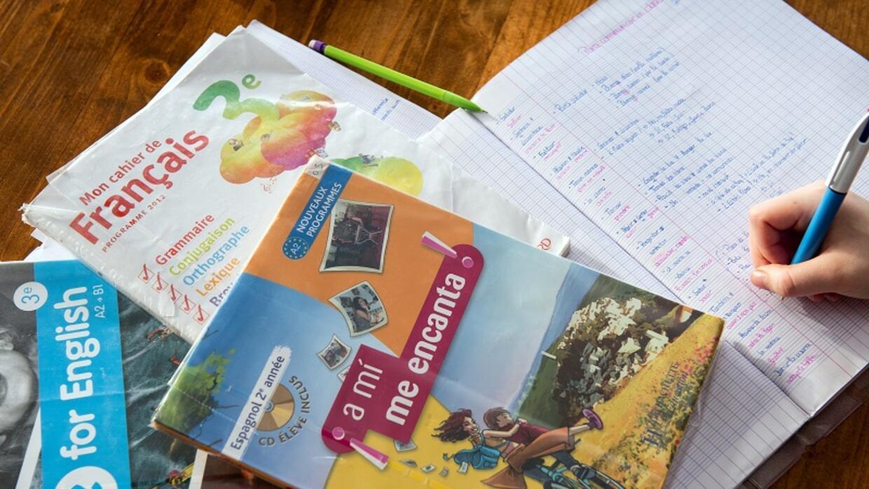 Estudiante aprende español, inglés y francés