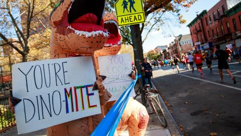 "Las pancartas de estos dos dinosaurios leían: ""eres 'dinomit..."