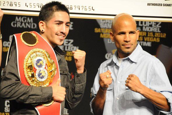 Leo Santa Cruz y Eric Morel.