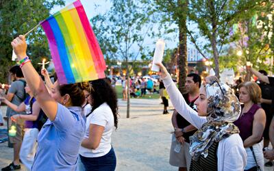 Orlando's LGBT community united with Muslims at a vigil the day after th...