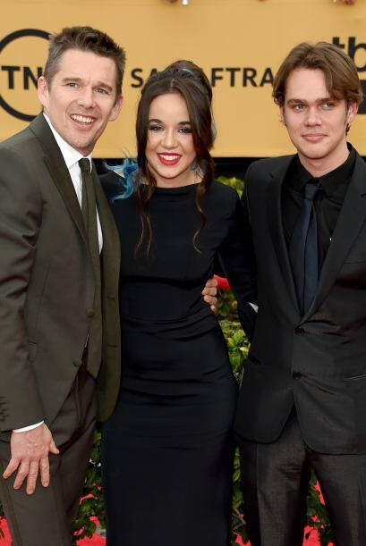 El elenco de 'Boyhood', Ethan Hawke,  Lorelei Linklater y Ellar Coltrane...