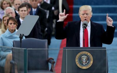 Donald Trump durante su discurso inauguralç
