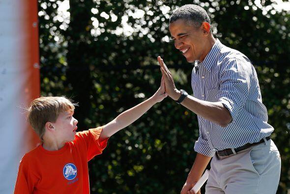 El presidente Barack Obama también convivió con los niños invitados a la...