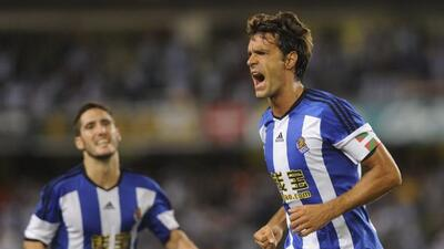 El capitán de la Real Sociedad marcó el único gol del encuentro.
