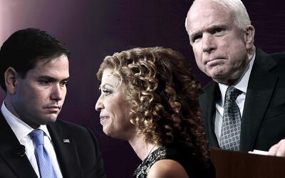 De izquierda a derecha, el senador por Florida Marco Rubio, la represent...