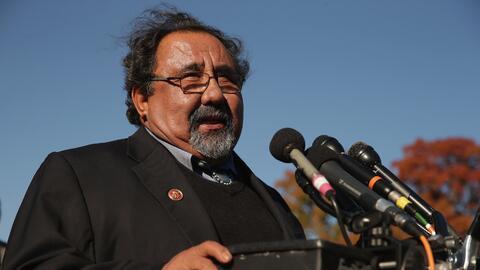 El congresista Raúl Grijalva en un evento donde abogó por la reforma mig...