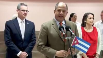 Luis Guillermo Solis, presidente de Costa Rica llegó esta tarde a la Habana