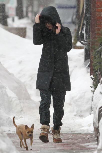Con la escarcha en sus botas y patitas, ambos disfrutaron de una caminat...