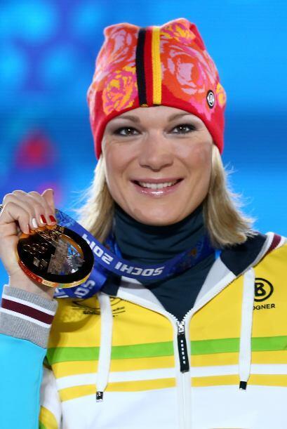 La alemana Maria Höfl - Riesch, de 29 años, es una alpinista de oro.