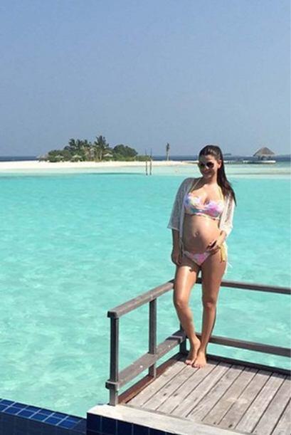 Ya en las Maldivas, nuestra bella conductora se dejó ver disfruta...