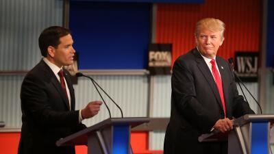 Trump y Rubio en el debate republicano del 10 de noviembre en Milwaukee