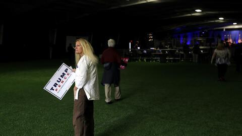 Una mujer en el evento de Melania Trump en Berwyn.