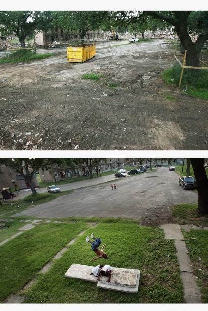 En 2015 los escombros permanecen en el proyecto de vivienda B. W. de baj...