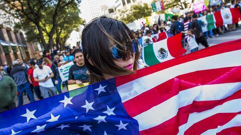 Imagen de la protesta del 'Día Sin Inmigrantes', en Austin, Texas.