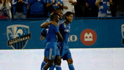 Didier Drogba, Dominic Oduro y Johan Venegas celebran gol Montreal Impact
