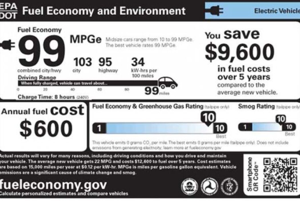 Para los autos eléctricos, las nuevas etiquetas tendrán un estimado de l...