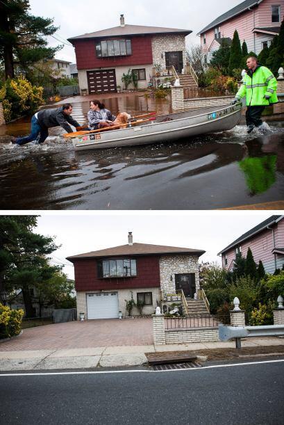 El 30 de octubre las autoridades evacuaban la zona de Little Ferry, Nuev...