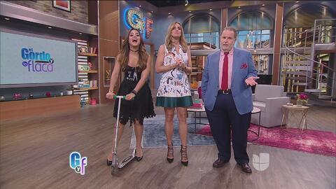 Clarissa hizo de las suyas montando un scooter por el set