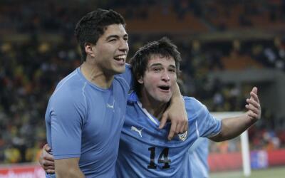 Luis Suárez y Nicolás Lodeiro, selección de Uruguay