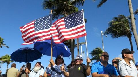 Pro-statehood supporters at the seaside Capitol in San Juan, Puerto Rico.