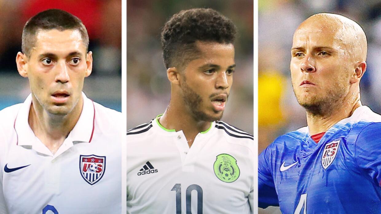 Clint Dempsey, Giovani dos Santos y Michael Bradley