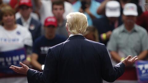 El candidato republicano a la presidencia Donald Trump habla el lunes 22...