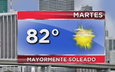 Cielo mayormente soleado y altas temperaturas para este martes en Miami