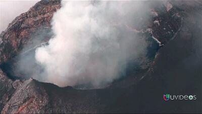El cráter del Popocatépetl visto desde el cielo