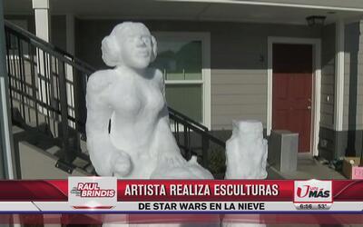 Artista realiza esculturas de Star Wars en la nieve