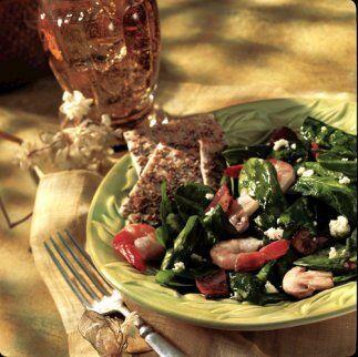 Ensalada de espinacas y camarón: La afición de Popeye por las espinacas...
