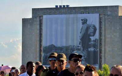A giant picture of Fidel Castro is displayed at the 'Plaza de la Revoluc...