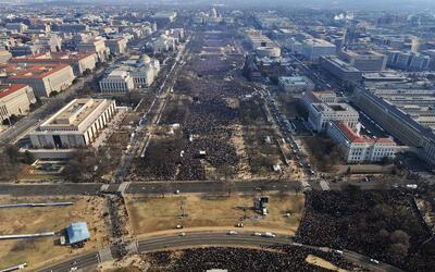 Foto aérea de la toma de posesión de Obama