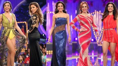 Las 7 aspirantes a la corona modelaron en elegantes vestidos en transpar...