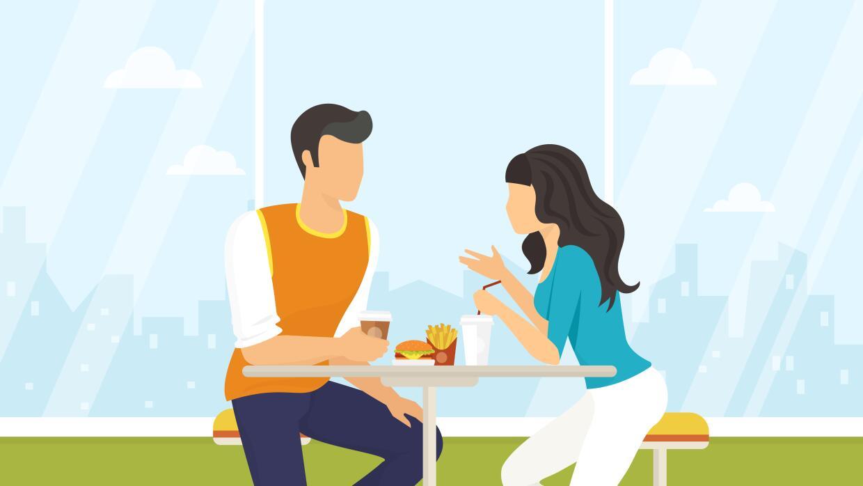Ilustración pareja comiendo y charlando