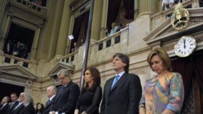 La presidenta de Argentina, Cristina Kirchner, durante un homenaje a las...