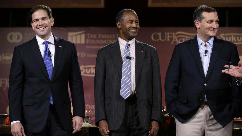 Marco Rubio, Ben Carson y Ted Cruz
