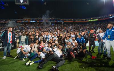 Pachuca en el festejo por el título de la Liga de Campeones de la...