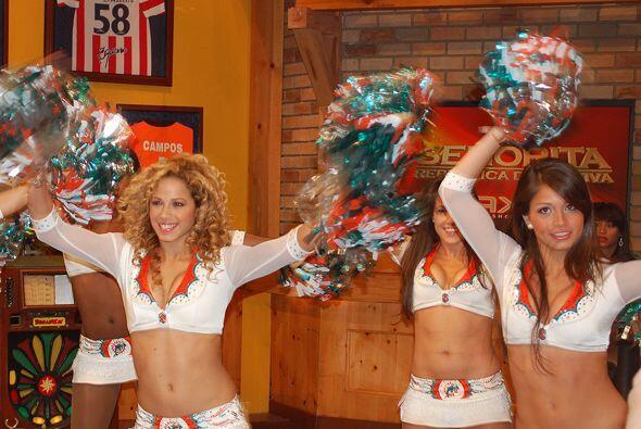 También llegaron las porristas de los Dolphins de Miami.